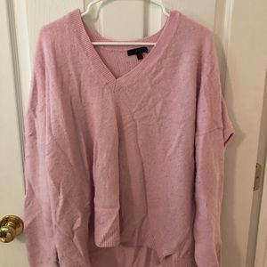 Baby pink oversized V-neck J Crew sweater